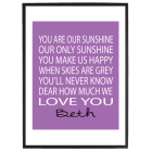 You are our sunshine personalised